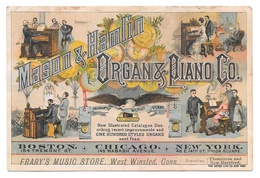 Victorian Trade Card Mason & Hamlin Organ Piano Co Frarys Music Store West Winsted CT - Trade Cards