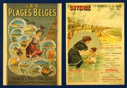 Les Plages Belges. Chemin De Fer Du Nord Et De L'Etat Belge. Reproduction Affiches Pub.  Lot De 18 Cartes - Autres