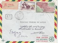 Lettre Recommandée Ave AR De DAKAR Pour Charles De Gaulle à L'Elysée Via Colombay (sic). - Senegal (1960-...)