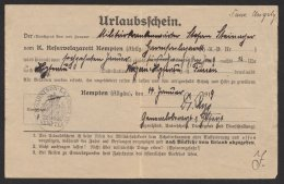 """""""Kempten"""", Urlaubsschein Des Lazaretts, 1919 - Bayern"""