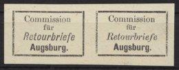 "Retourmarken: Augsburg: Waagerechtes Paar, Verschiedene Schriftarten Bei ""Retourbrief"", (*) - Bayern"