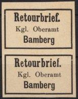"""Retourmarken: Bamberg: Senkrechtes Paar, """"b""""= Retourbrief Mit Und Ohne """"Dach"""", (*) - Bayern"""