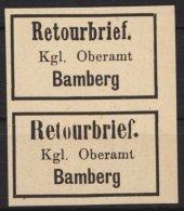"""Retourmarken: Bamberg: Senkrechtes Paar, Verschiedene Schriftarten Bei """"Retourbrief"""", (*) - Bayern"""