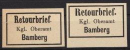 """Retourmarken: Bamberg: 2 Werte, Verschiedene Schriftarten Bei """"Retourbrief"""", (*) - Bayern"""