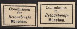 """Retourmarken: München: 2 Werte """"Retourbrief"""", Verschiedene Schriftarten, (*) - Bayern"""