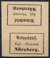 Retourmarken: Nürnberg: Senkrecht.Kehrdruckpaar, (*) - Bayern