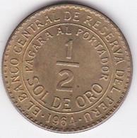 Perou 1/2 Sol De Oro 1964, En Laiton  KM# 220 - Peru