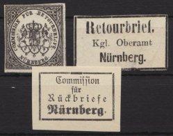 Retourmarke:Nürnberg: 3 Verschiedene Werte, (*) - Bayern