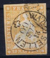 Switserland: Mi Nr 16 Signed/ Signé/signiert/ Approvato BPP Obl./Gestempelt/used - 1854-1862 Helvetia (Ungezähnt)