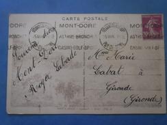 FRANCE Type Semeuse 20c Lilas Sur CP Le Mont Doré(63) De 1936 , 2 Scans - France