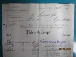 Facture 1900 à LYON 5 Rue Penthièvre André DESCOURS CABAUD & Cie Ancienne Maison. César Dufournel  & Fils - France
