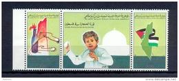 "Libya/Libye 1988 - Strip Of 3 Stamps - Palestinian ""Intifada"" Movement - Libyen"