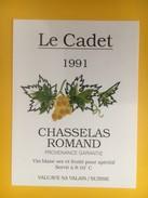 4969 - Le Cadet 1991 Chasselas Romand  Suisse - Etiquettes