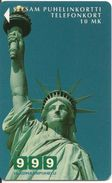 CARTE-PREPAYEE -MAGNETIQUE -FINLANDE-12/99-NEWYORK- STATUE De La LIBERTE-TBE-RARE - Finlande