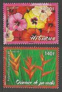 FRENCH POLYNESIA 2007 FLOWERS HIBISCUS BIRD OF PARADISE SET MNH - French Polynesia