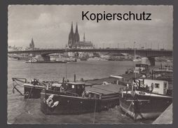ÄLTERE POSTKARTE KÖLN NEUE DEUTZER BRÜCKE Frachtschiff Cargo Ship Postcard Cpa Ansichtskarte AK - Cargos