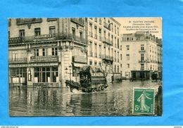 NANTES-Inondation 1910-Place Du Commerce Café De La Bourse-et Charette Déménagement Plan Animé--a Voyagé En 1910 - Nantes