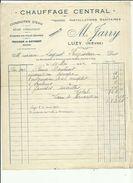 Facture De M  JARRY  Chauffage-Central-Sanitaire-Conduite D'Eau A LUZY 58  Adressé A Mr SUGNOT  Regisseur LUZY En 1942 - Autres