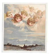 Vintage Chromo Lithograph Card Angels Cherubs Overlooking Countryside Church From Clouds - Picture Cards