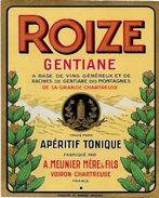 étiquette Publicité Publicitaire Gentiane ROIZE Voiron Chartreuse Isère 13 X 10,5 - Labels