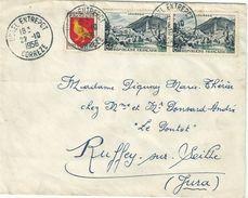4037 USSEL ENTREPOT Corréze Lettre  6 F Lourdes 3 F Aunis Yv 976 1004 Ob 22 10 1956 - Frankrijk