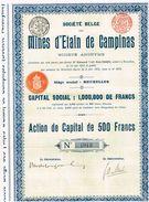 Action Ancienne - Société Belge Des Mines D' Etain De Campinas - Titre De 1912 - Mines