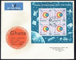 1964  Interenational Quiet Sun Years  Souvenir Sheet   FDC  SG MS334a - Ghana (1957-...)
