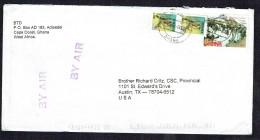 2003 Air Letter To USA  Edine Bakatua Festival ¢5000, Birds ¢300 X2 - Ghana (1957-...)