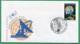 DJIBOUTI ENVELOPPE PREMIER JOUR FDC 1998 Michel Mi 668 JOURNEE MONDIALE TELECOMMUNICATIONS WORLD DAY - RARE - Djibouti (1977-...)