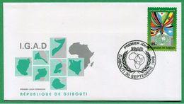 DJIBOUTI ENVELOPPE PREMIER JOUR FDC 1998 Michel Mi 670 IGAD - RARE - Djibouti (1977-...)