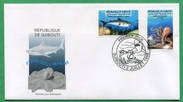 DJIBOUTI ENVELOPPE PREMIER JOUR FDC 1998 Michel Mi 665 666 FAUNE SOUS MARINE SUBMARINE FAUNA POULPE PIEUVRE REQUIN  RARE - Djibouti (1977-...)