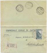 1952 LAVORO L. 65 ISOLATO PIEGO  RACC. 18.6.52 TIMBRI TRANSITO E ARRIVO BELVEDERE SPINELLO (8143) - 1946-60: Storia Postale