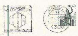 1990 Essen GERMANY COVER SLOGAN Illus WOOD & PLASTIC FAIR  Postal Stationery Card Stamps - Sciences
