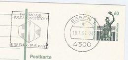 1992 Essen GERMANY COVER SLOGAN Illus WOOD & PLASTIC FAIR  Postal Stationery Card Stamps - Sciences