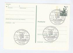 1990 Stuttgart GERMANY COVER EVENT Pmk WOOD & PLASTIC FAIR  Postal Stationery Card Stamps - Sciences