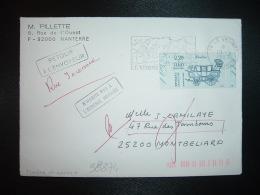 LETTRE TP BERLINE JOURNEE DU TIMBRE 2,20+0,60 OBL.MEC.19-3-1987 LE VESINET (78) RETOUR MONTBELIARD (25 DOUBS) GRIFFES - Marcophilie (Lettres)