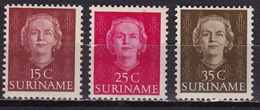 Suriname 1951 Koningin Juliana 15 - 25 - 35 Cent NVPH 286-288-291 Ongestempeld - Suriname ... - 1975