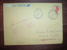 LETTRE EP LIBERTE ROUGE OBL.19-2-1987 MORESTEL (38 ISERE) RETOUR TARARE (69) GRIFFE ROUGE + OBL. ROUGE - 1982-90 Liberté (Gandon)