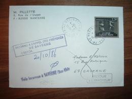 L. TP JEAN RENOIR 2,20 OBL.17-10-1986 LE VESINET (78) RETOUR SAVERNE (67 BAS-RHIN) + GRIFFES - Marcophilie (Lettres)