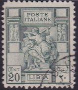 Italy-Colonies And Territories-Libya S 54 1926-29 ,Libyan Sibyl,perf 11,20c Green,used - Libya