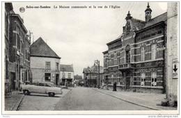 """CPA  -  SOLRE  SUR  SAMBRE   (Hainaut)   La Maison Communale Et La Rue De L'Eglise -  Café  """" Au Bon Vouloir """" - Belgique"""