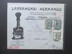 Spanien 1941 Zensurpost Mehrfachzensur Der Wehrmacht OKW / Censura Gubernativa Vitoria. Larramendi Hermanos. Stempel - 1931-50 Briefe U. Dokumente
