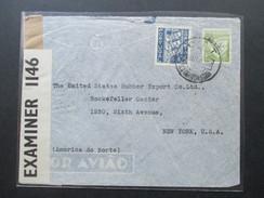 Portugal 1941 Zensurpost Lisboa - New York. Rockefeller Center. Luftpost. Opened By Examiner 1146 - 1910-... République