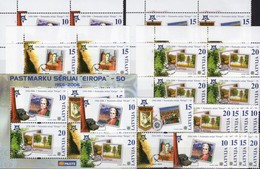 Latvia 652/9,ZD,ER-VB+Block 21 ** 24€ 50 Jahre CEPT 2006 Philatelic Bloc Stamp On Stamp Se-tenant Sheet Bf Lettonia - Lettonie