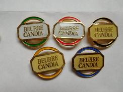 Belle Série De 5 Pin's  , JO Jeux Olympiques Albertville 92 , Beurre Candia - Jeux Olympiques