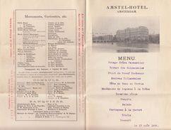 MENU 13/8/1908. AMSTEL-HOTEL AMSTERDAM. EN FRANCAIS. SUR DEPLIANT PUBLICITE - Menus
