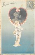Carte Fantaisie Gaufrée Avec Photo Collée Dans Médaillon - Jeune Femme Voeux De Bonne Année 1905 - Vrouwen