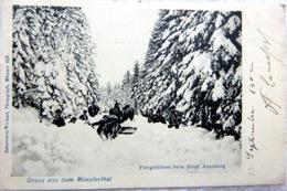68 MUNSTERTHAL  GRUSS JOYEUX DRILLES DANS LA NEIGE CARTE PIONNIERE 1900 - Munster