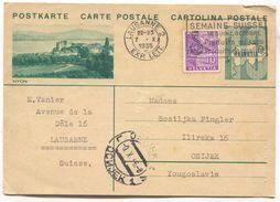 NYON - SWITZERLAND, Seal LAUSANNE, ILLUSTRATED STATIONERY 1935. USED - Interi Postali