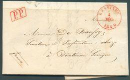 LAC De LESSINES  Le 4 Décembre 1840 + Griffe PP Vers Fontaine-l'Eveque, Verso : Port 3 Décimes  Expéditeur Distillerie D - 1830-1849 (Belgique Indépendante)